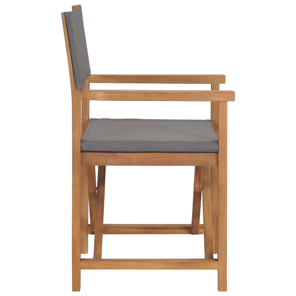 Director's Chair Solid Teak Wood Grey 3