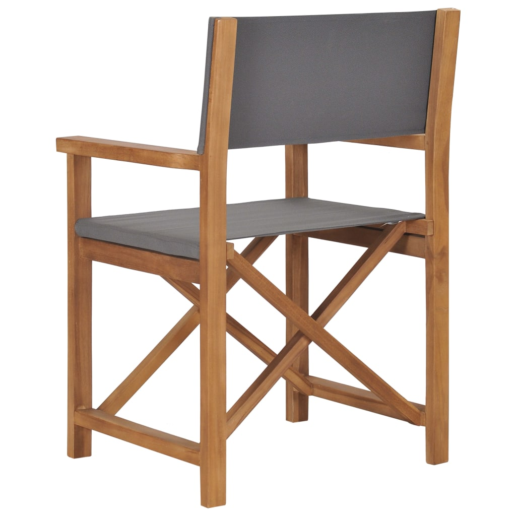 Director's Chair Solid Teak Wood Grey 4