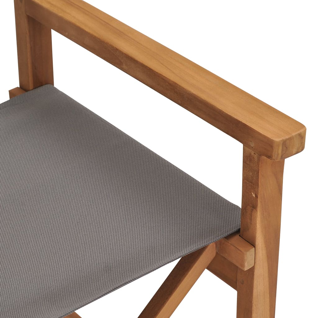 Director's Chair Solid Teak Wood Grey 7