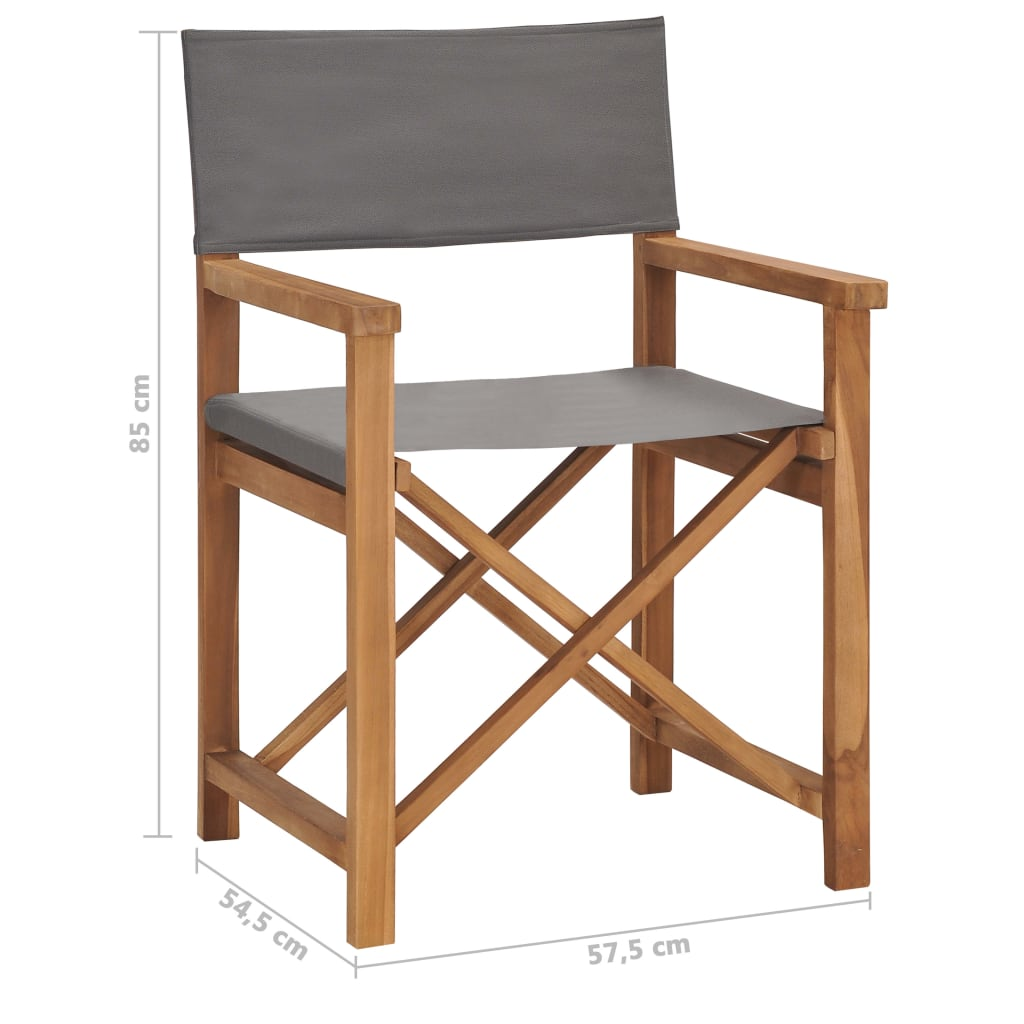 Director's Chair Solid Teak Wood Grey 8