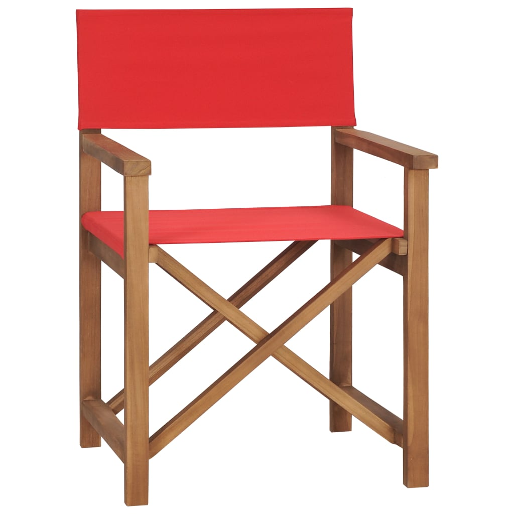 Director's Chair Solid Teak Wood Red 1