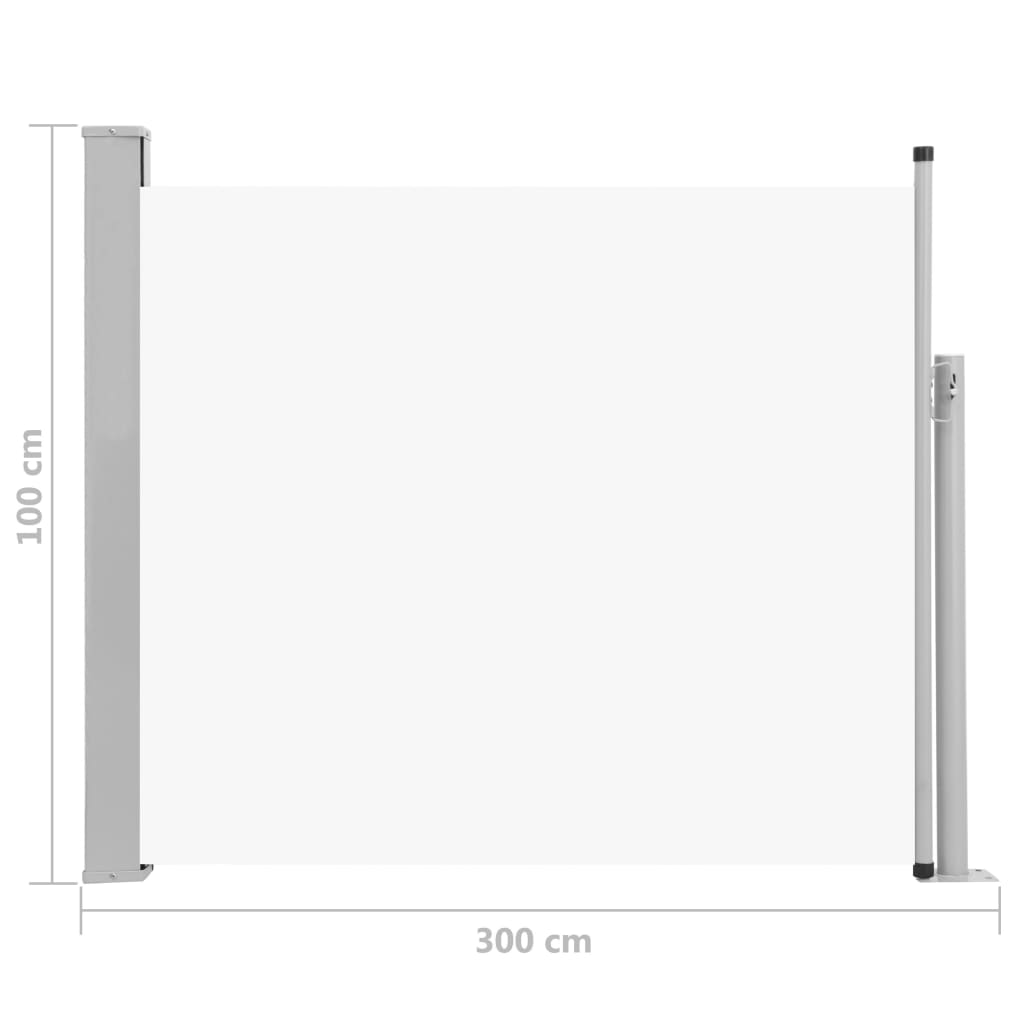 Patio Retractable Side Awning 100×300 cm Cream 8