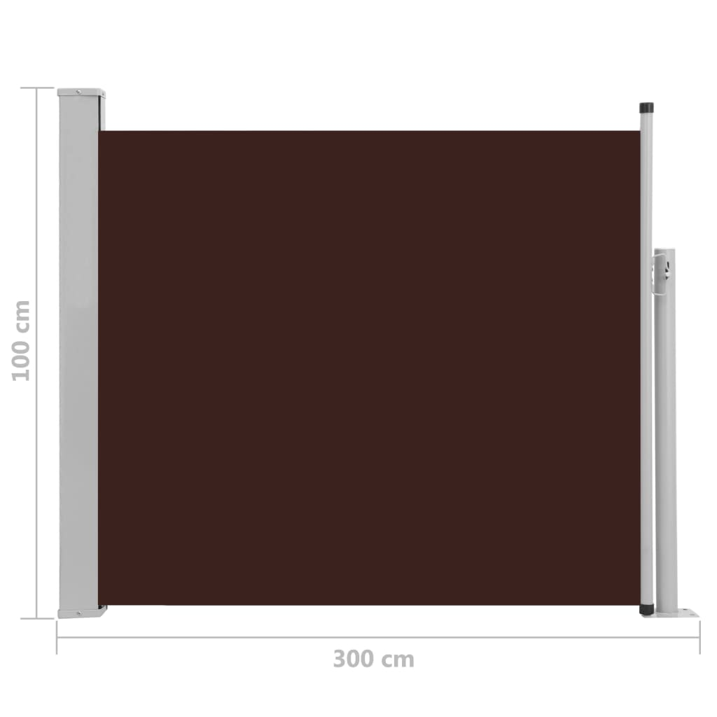 Patio Retractable Side Awning 100×300 cm Brown 8
