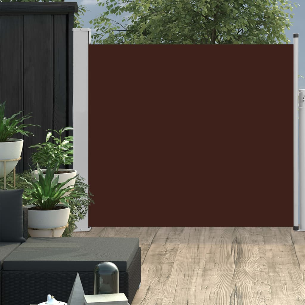 Patio Retractable Side Awning 100×300 cm Brown 1