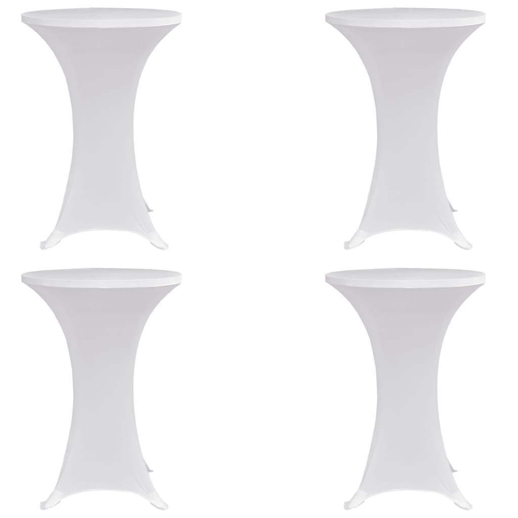 Standing Table Cover Ø60 cm White Stretch 4 pcs 1