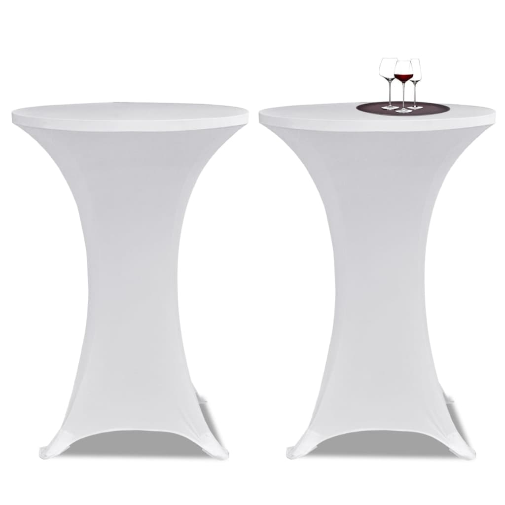 Standing Table Cover Ø70 cm White Stretch 4 pcs 2