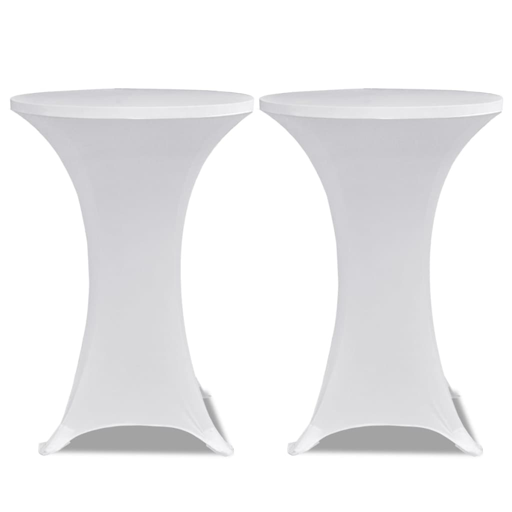 Standing Table Cover Ø70 cm White Stretch 4 pcs 3