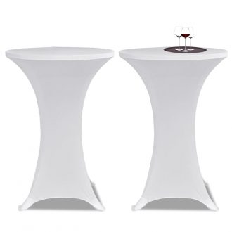 Standing Table Cover Ø80 cm White Stretch 4 pcs 2