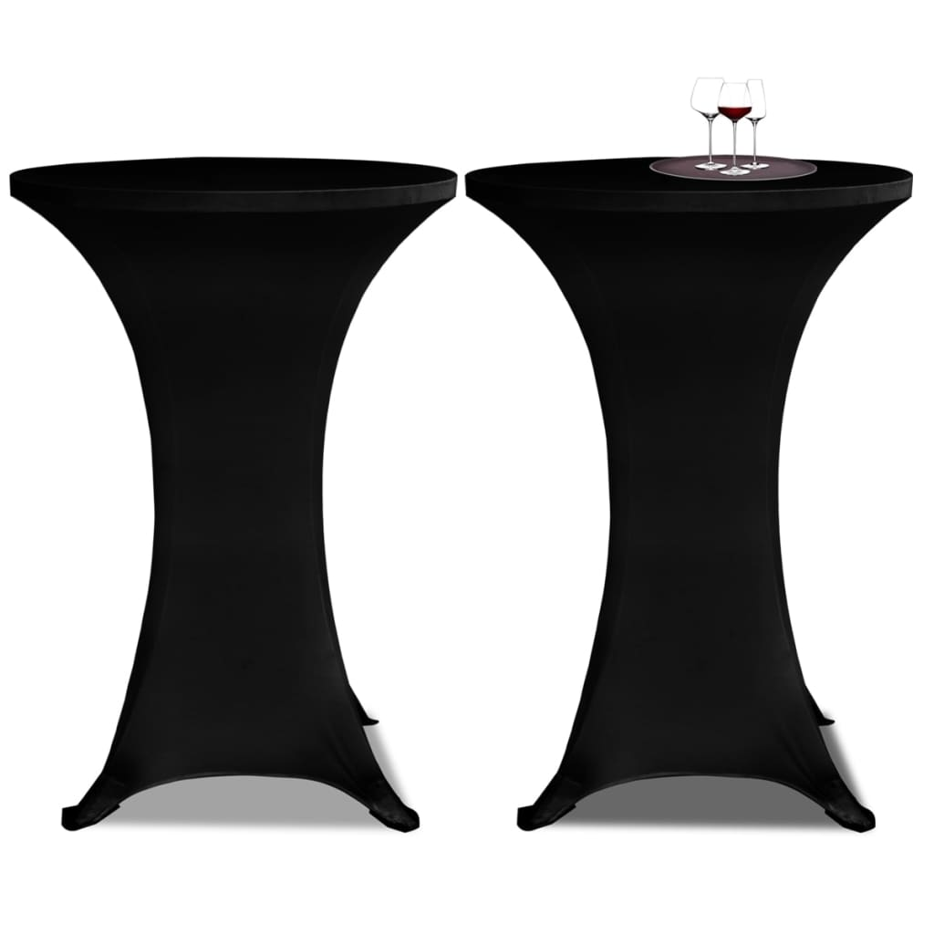 Standing Table Cover Ø70 cm Black Stretch 4 pcs 2