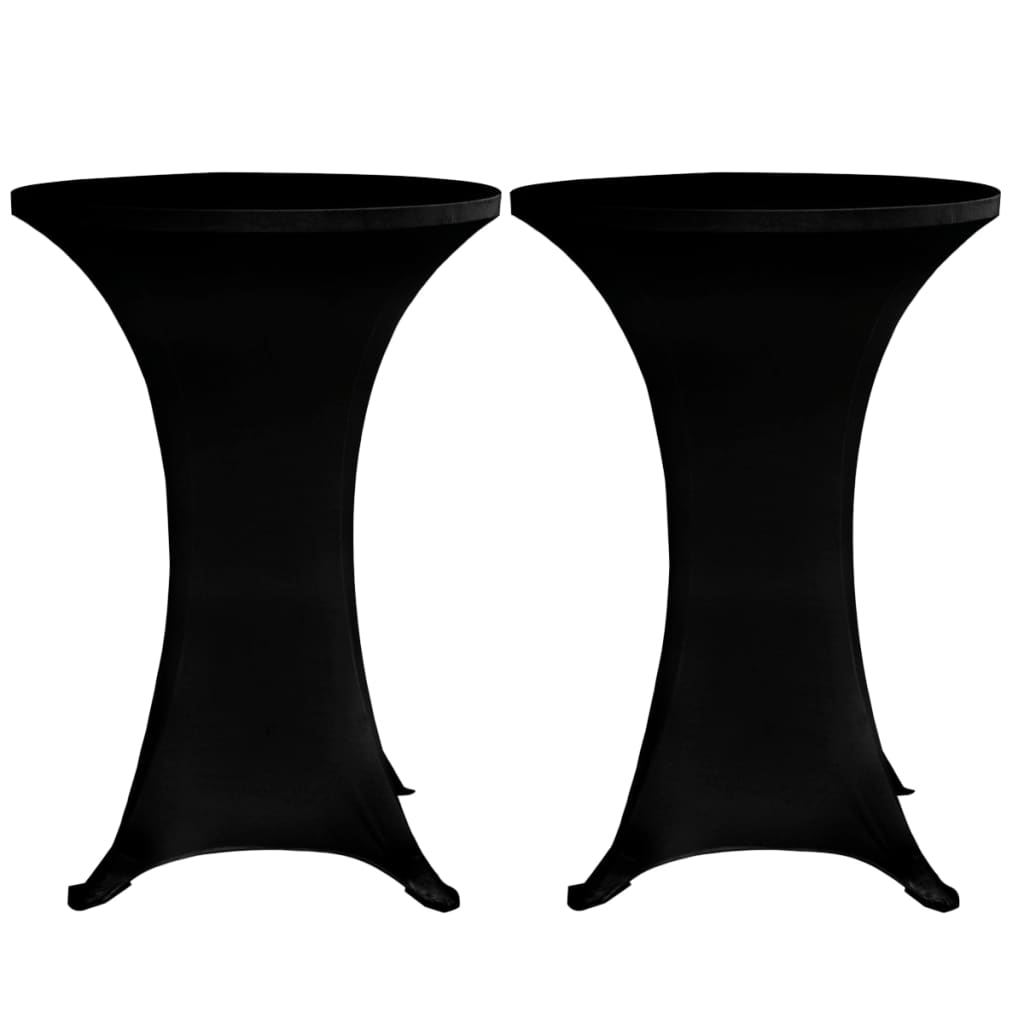 Standing Table Cover Ø70 cm Black Stretch 4 pcs 3