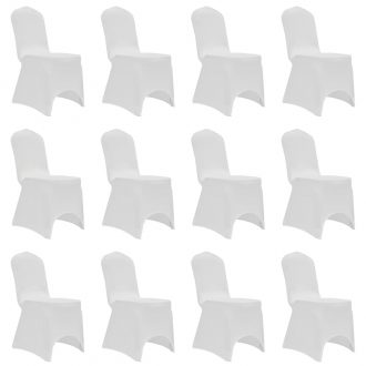 Chair Cover Stretch White 12 pcs 1