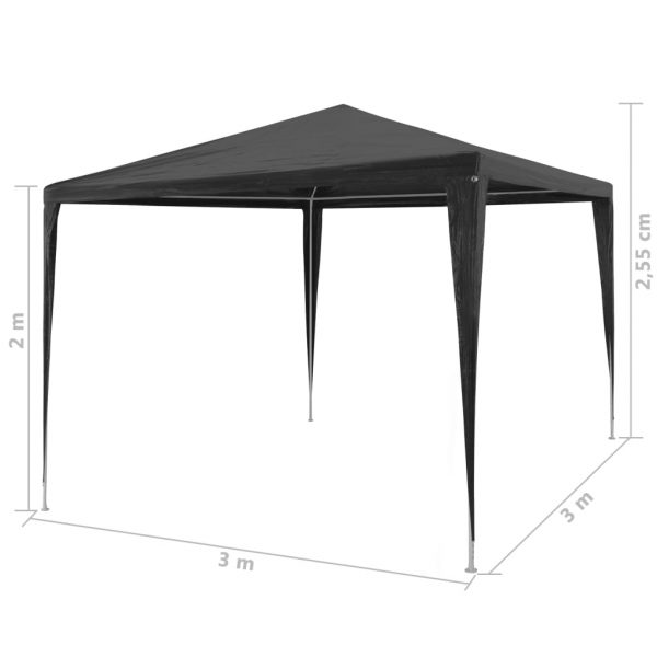 Party Tent 3×3 m PE Anthracite 6