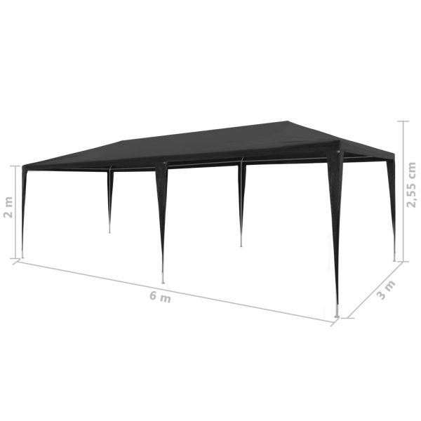Party Tent 3×6 m PE Anthracite 6