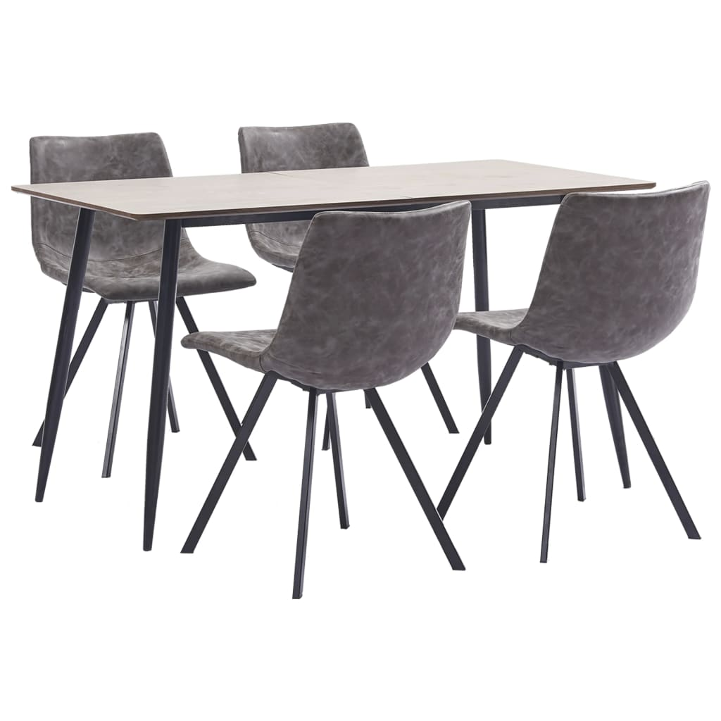 5 Piece Dining Set Brown Faux Leather 1