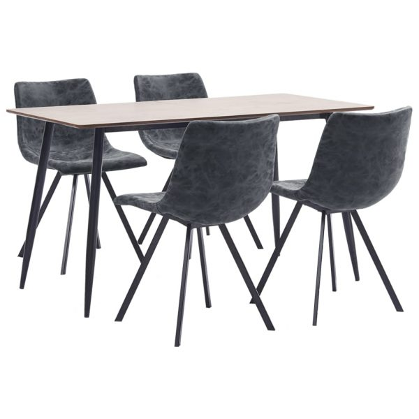 5 Piece Dining Set Black Faux Leather 1