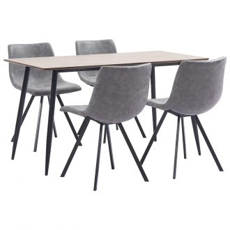 5 Piece Dining Set Grey Faux Leather 1