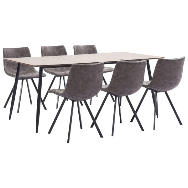 7 Piece Dining Set Brown Faux Leather 1