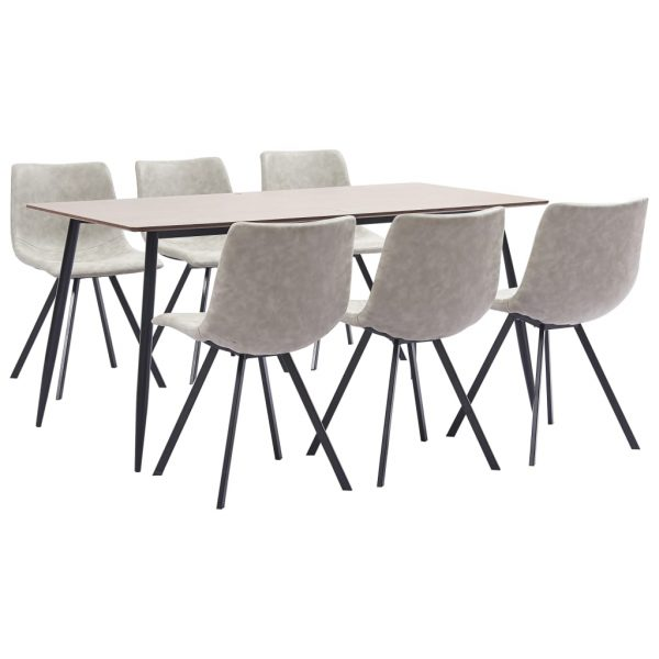 7 Piece Dining Set Light Grey Faux Leather 1