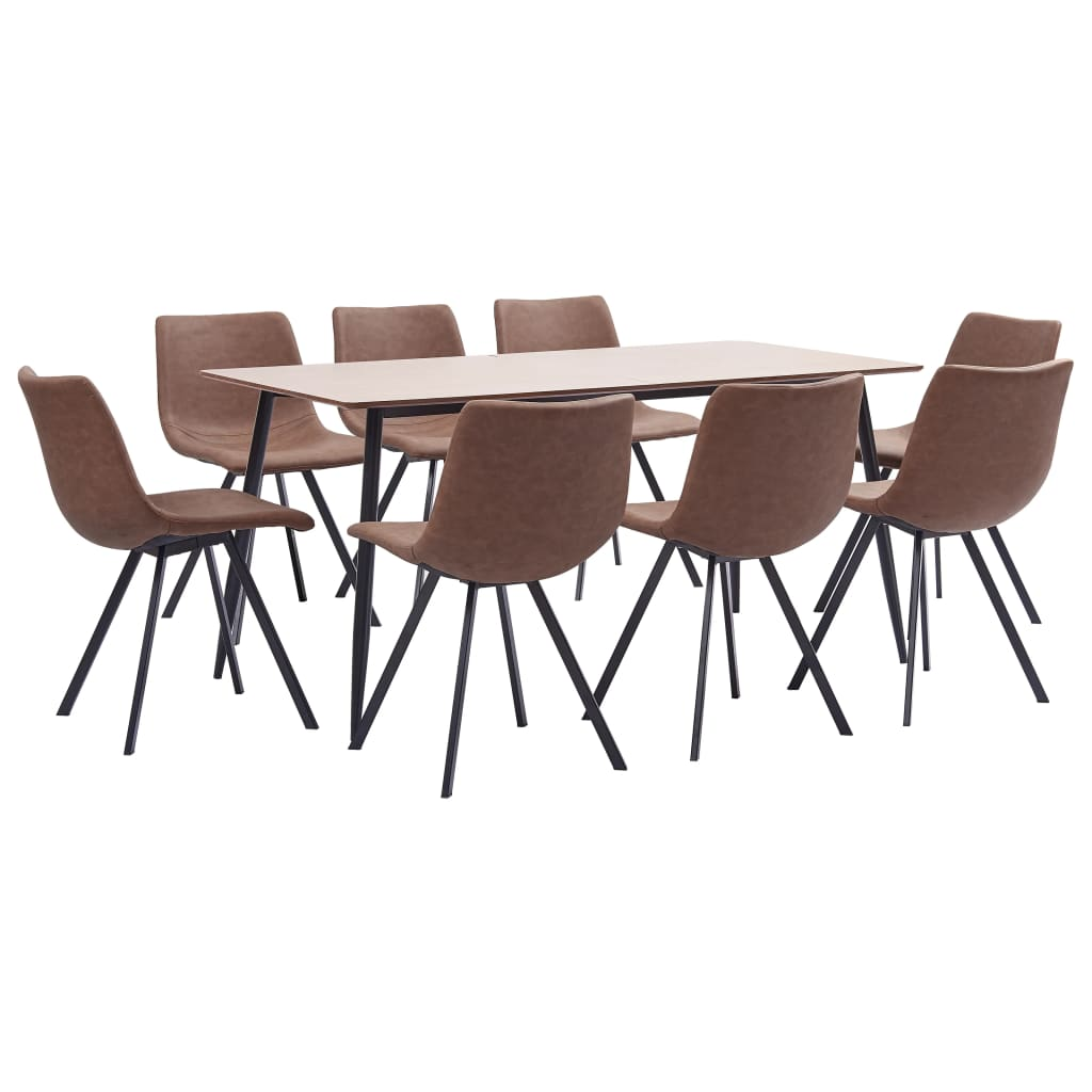 9 Piece Dining Set Medium Brown Faux Leather 1