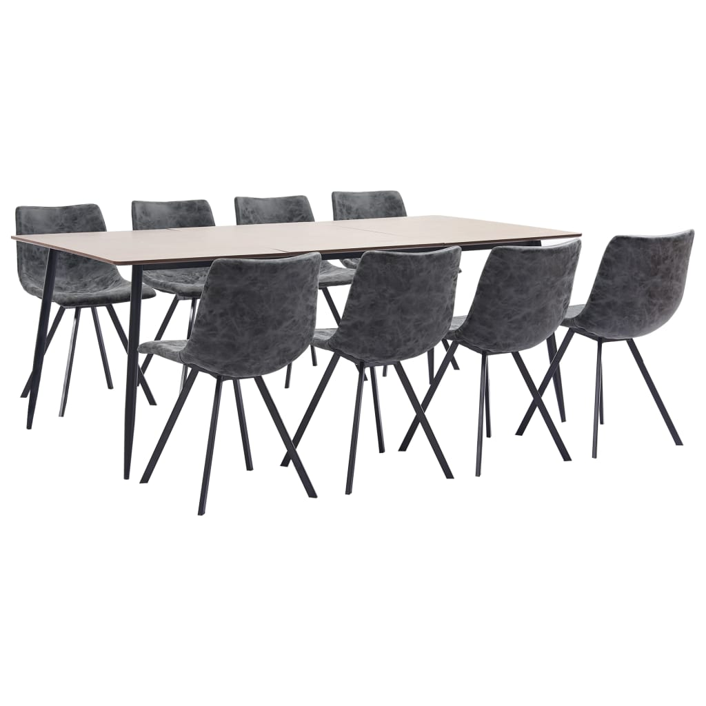 9 Piece Dining Set Black Faux Leather 1