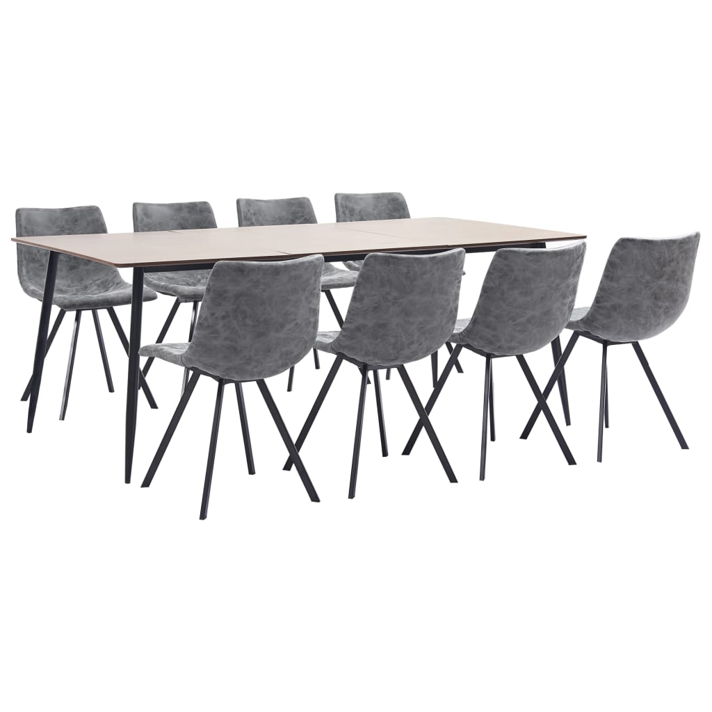 9 Piece Dining Set Grey Faux Leather 1