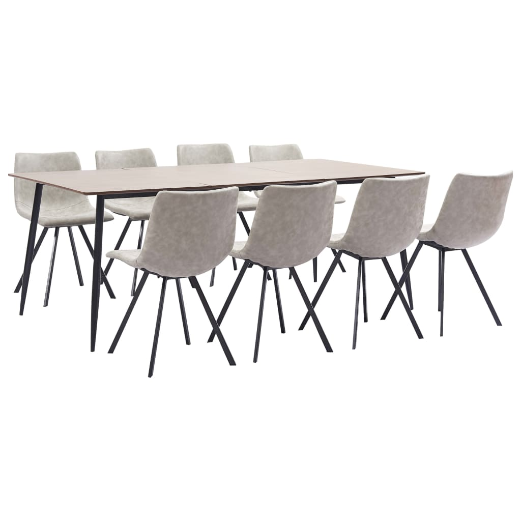 9 Piece Dining Set Light Grey Faux Leather 1