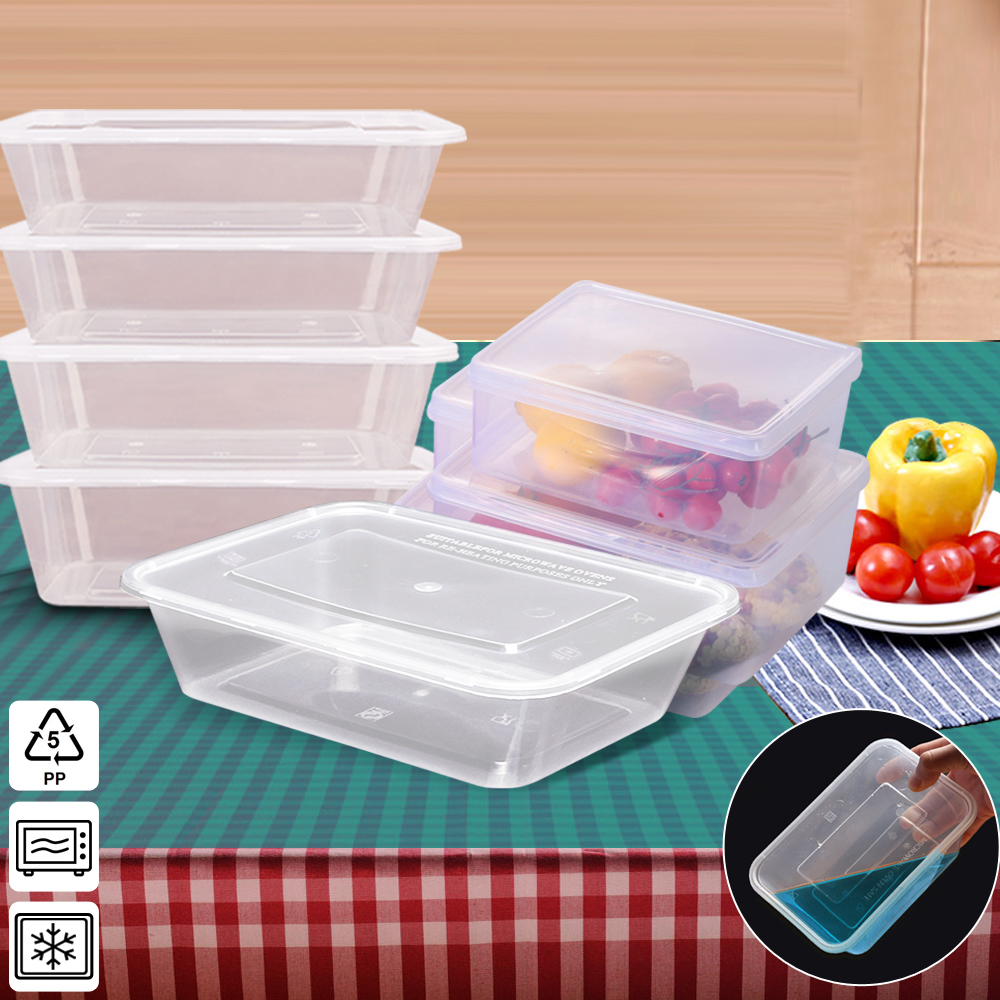 Food Containers Take Away Plastic Base + Lids Bulk 500ml 1