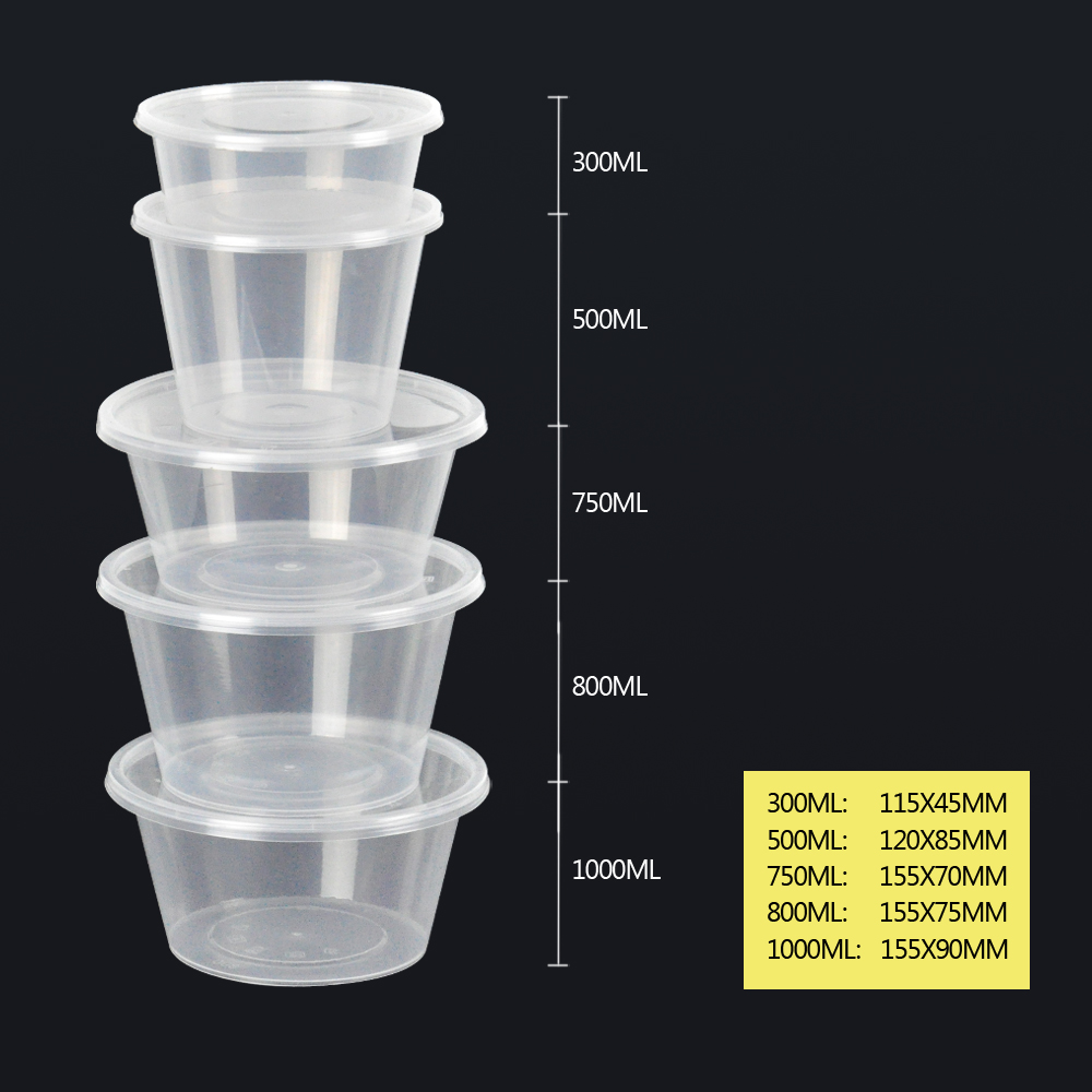 50pcs 300ml Take Away Containers With Lids 6