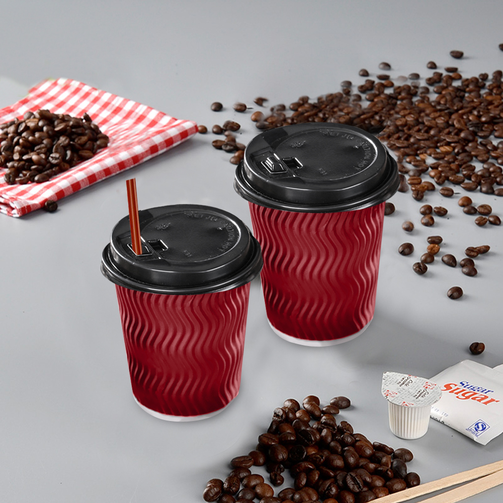 Disposable Coffee Cups Triple Wall 8oz 500pcs Red 2