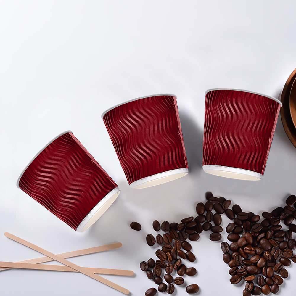 Disposable Coffee Cups Triple Wall 8oz 500pcs Red 3