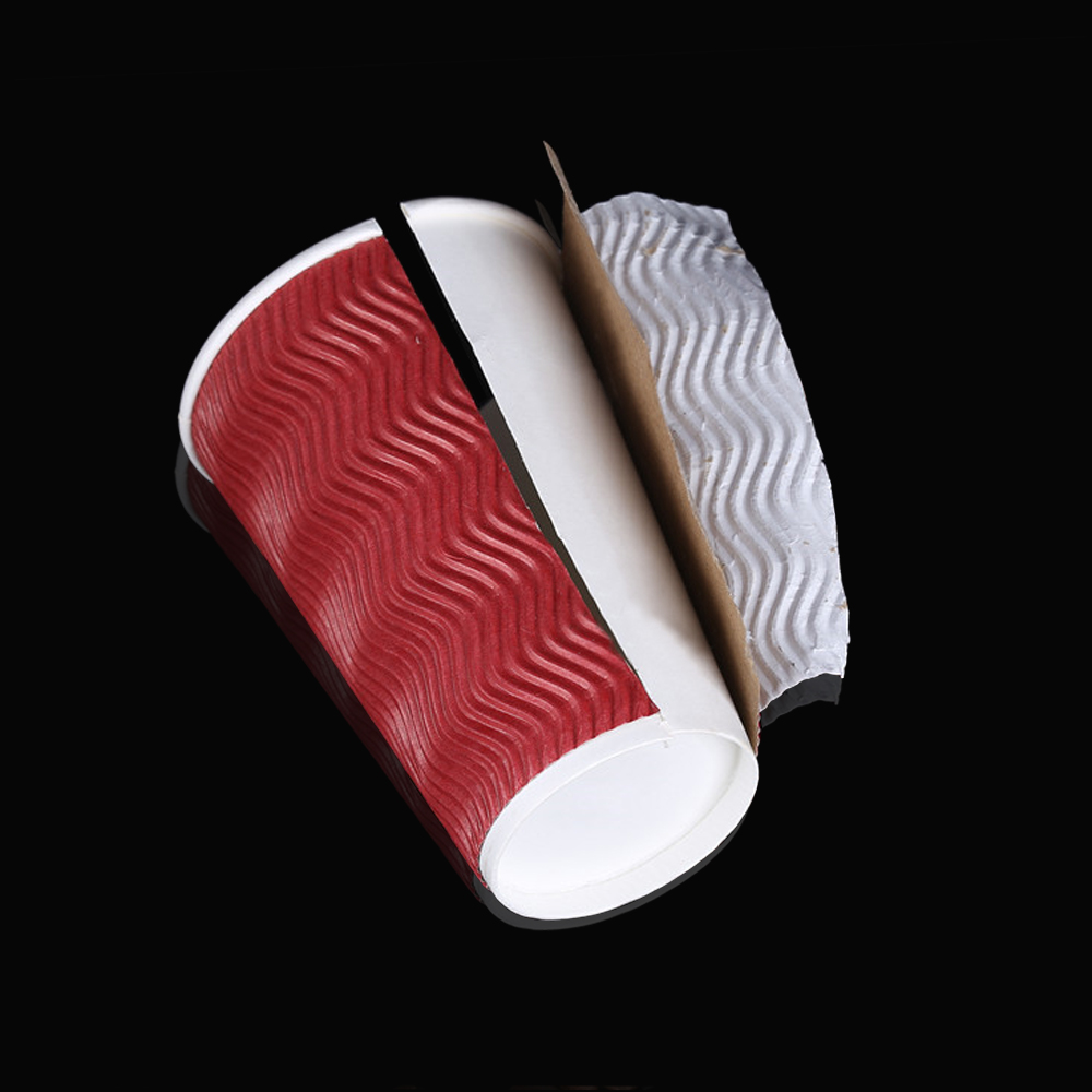 Disposable Coffee Cups Triple Wall 8oz 500pcs Red 4