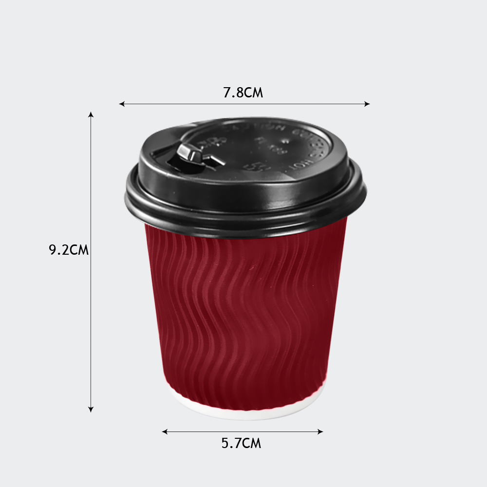 Disposable Coffee Cups Triple Wall 8oz 500pcs Red 6