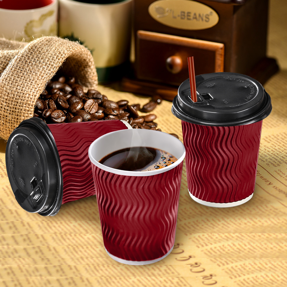 Disposable Coffee Cups Triple Wall 8oz 500pcs Red 1
