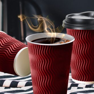 Disposable Coffee Cups Triple Wall 12oz 200pcs Red 1