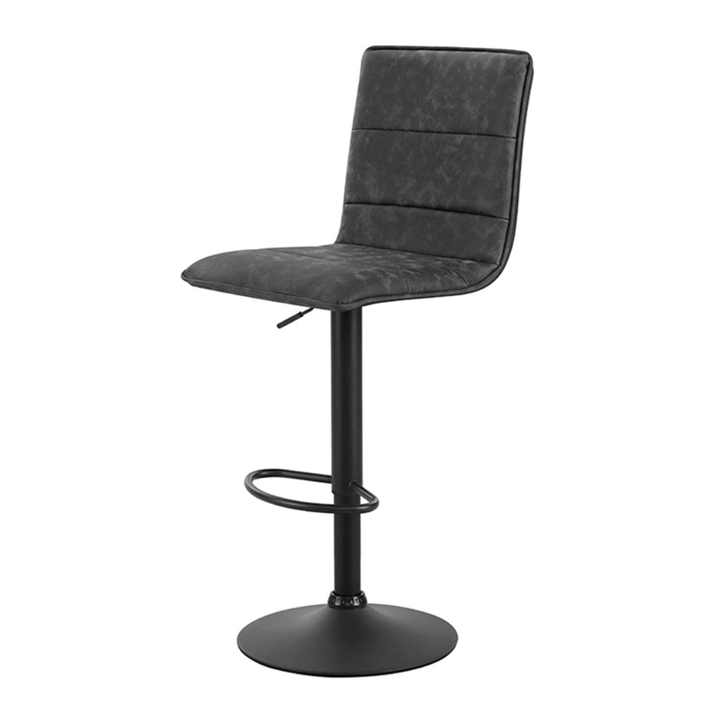Artiss 2x Kitchen Bar Stools Gas Lift Bar Stool Chairs Swivel Vintage Leather Grey Black Coated Legs 1