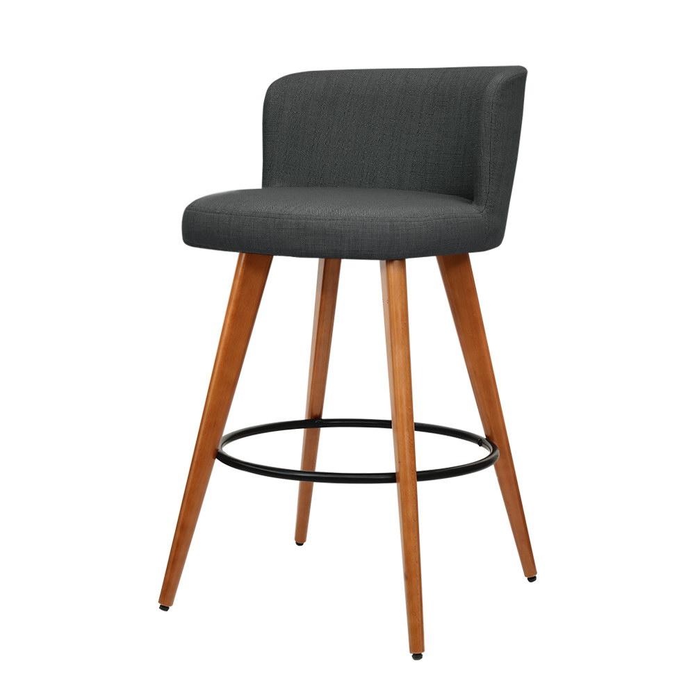 Artiss 2x Wooden Bar Stools Modern Bar Stool Kitchen Fabric Charcoal 1
