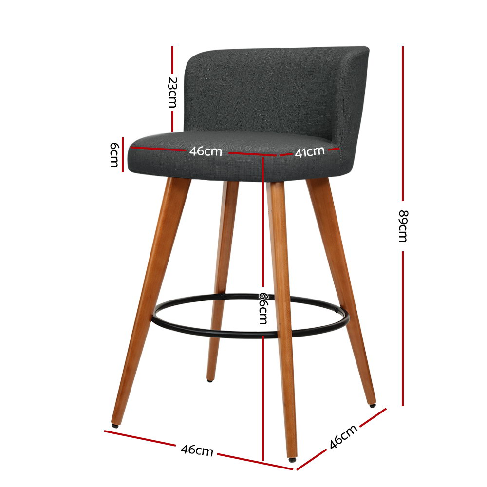 Artiss 2x Wooden Bar Stools Modern Bar Stool Kitchen Fabric Charcoal 2