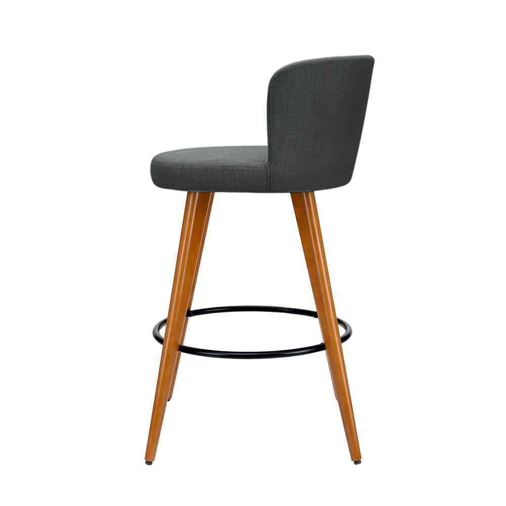 Artiss 2x Wooden Bar Stools Modern Bar Stool Kitchen Fabric Charcoal 3