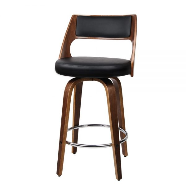 2xArtiss Wooden Bar Stools Swivel Bar Stool Kitchen Dining Chair Cafe Black 76cm 1