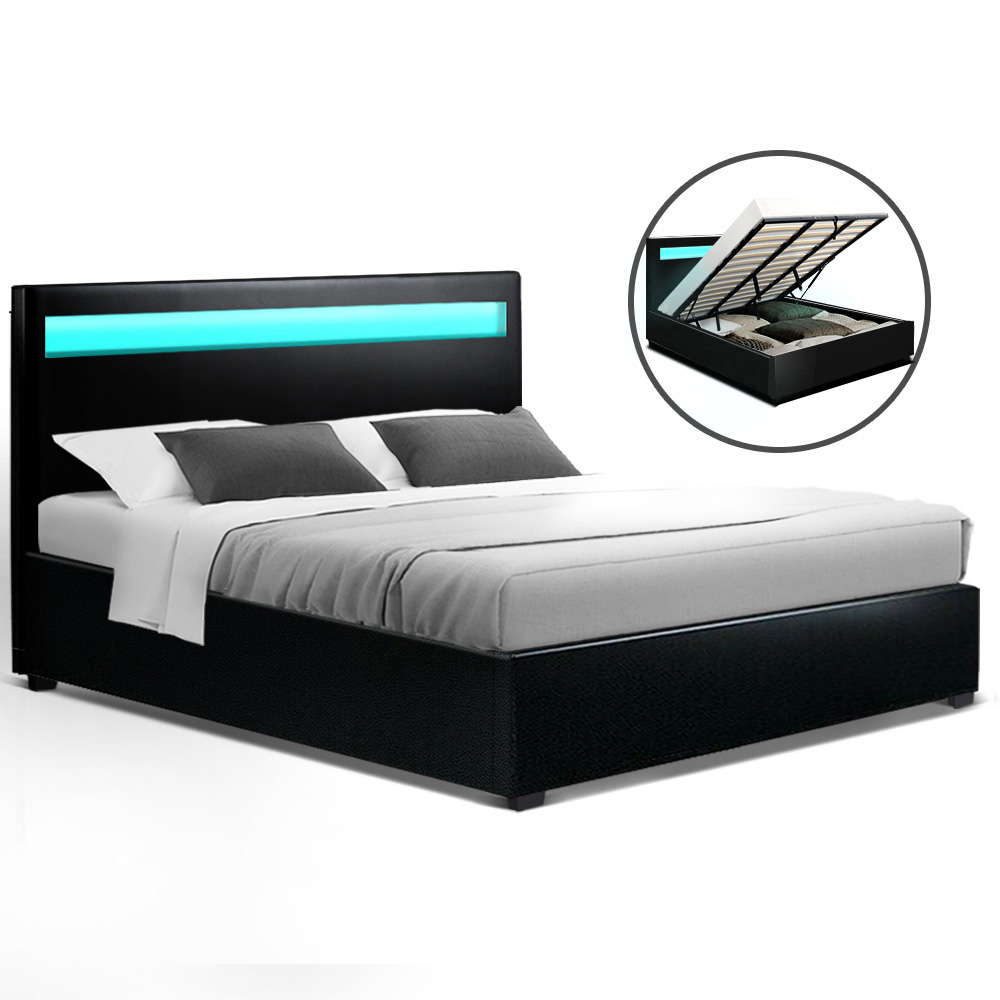 Artiss LED Bed Frame King Size Gas Lift Base With Storage Black Leather 1