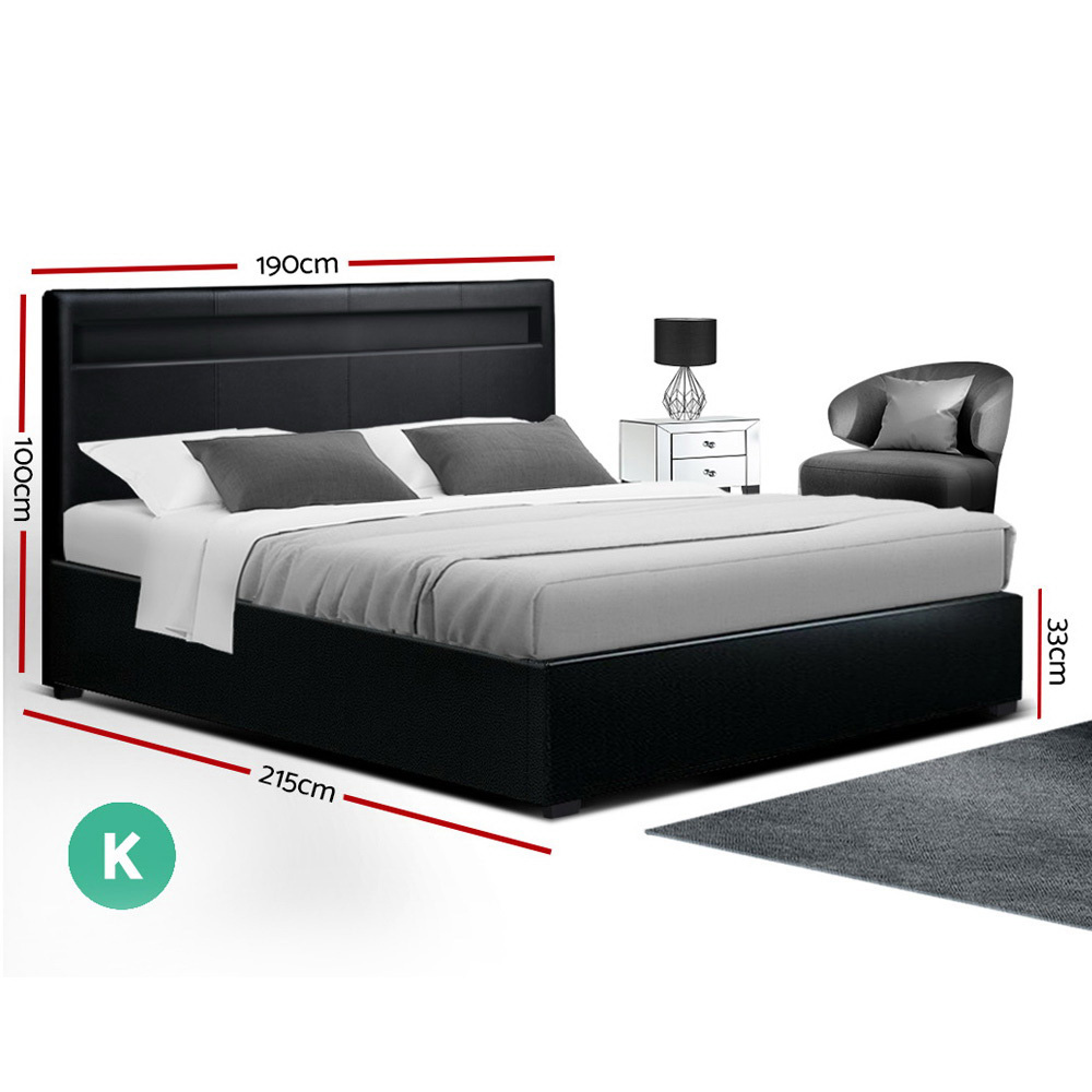 Artiss LED Bed Frame King Size Gas Lift Base With Storage Black Leather 2