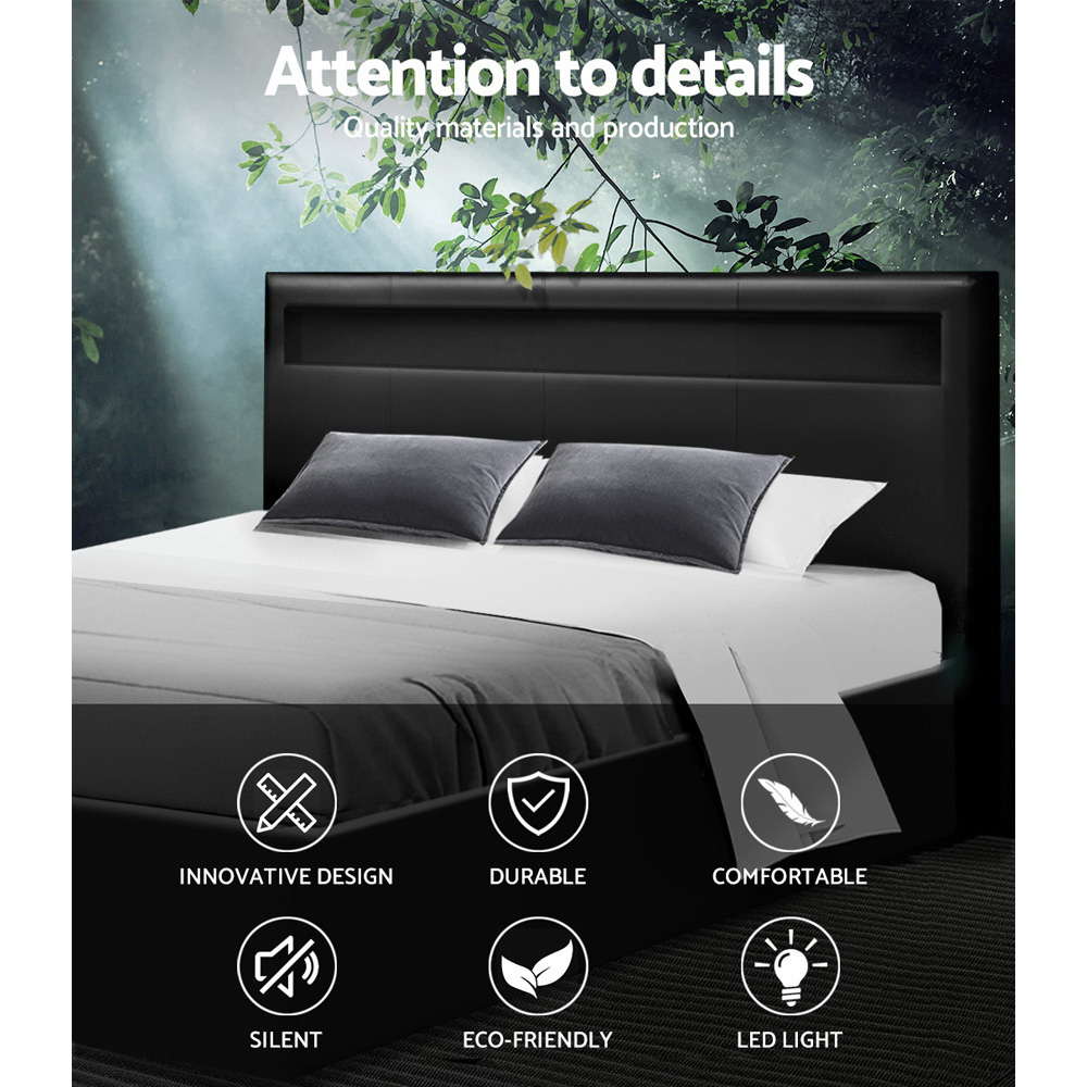 Artiss LED Bed Frame King Size Gas Lift Base With Storage Black Leather 3