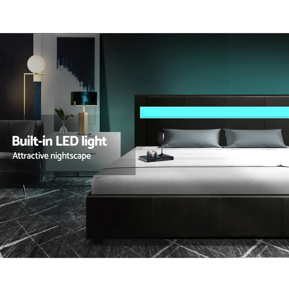 Artiss LED Bed Frame King Size Gas Lift Base With Storage Black Leather 4