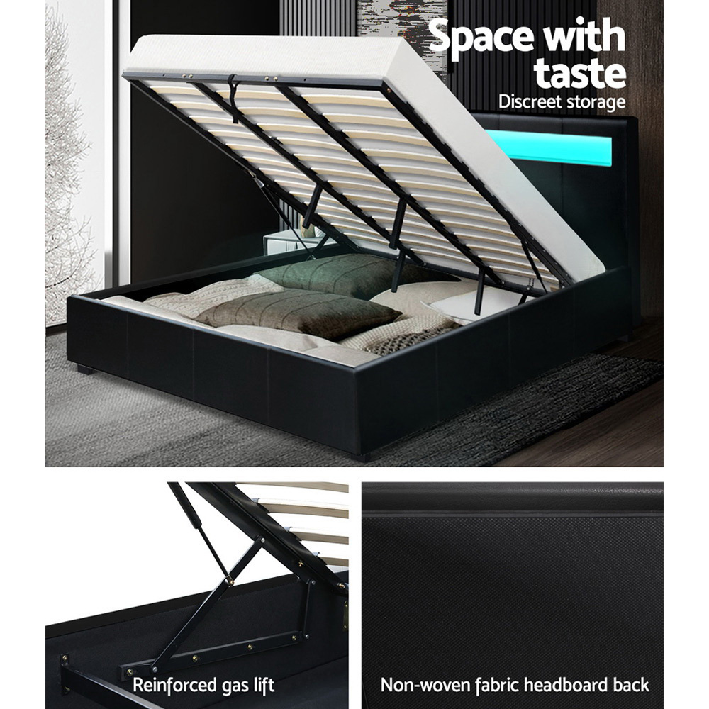 Artiss LED Bed Frame King Size Gas Lift Base With Storage Black Leather 6