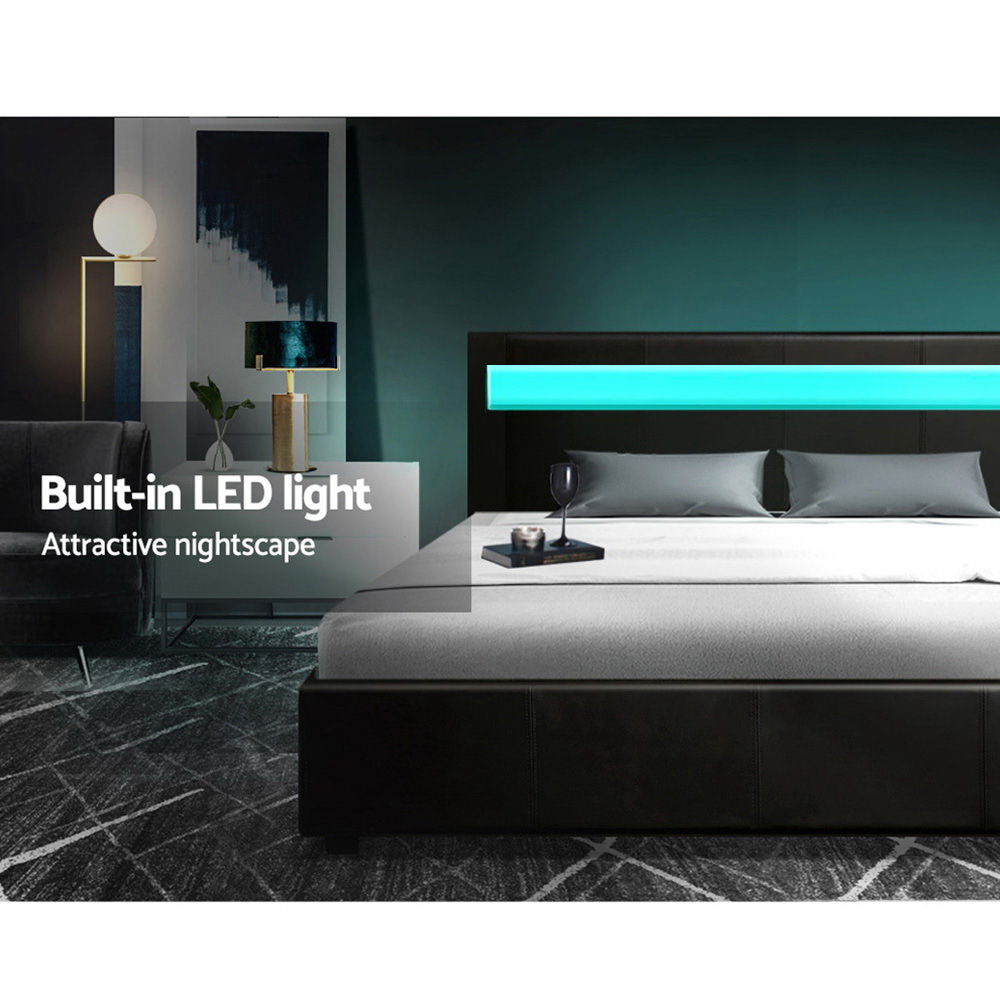 Artiss LED Bed Frame Queen Size Gas Lift Base With Storage Black Leather 4