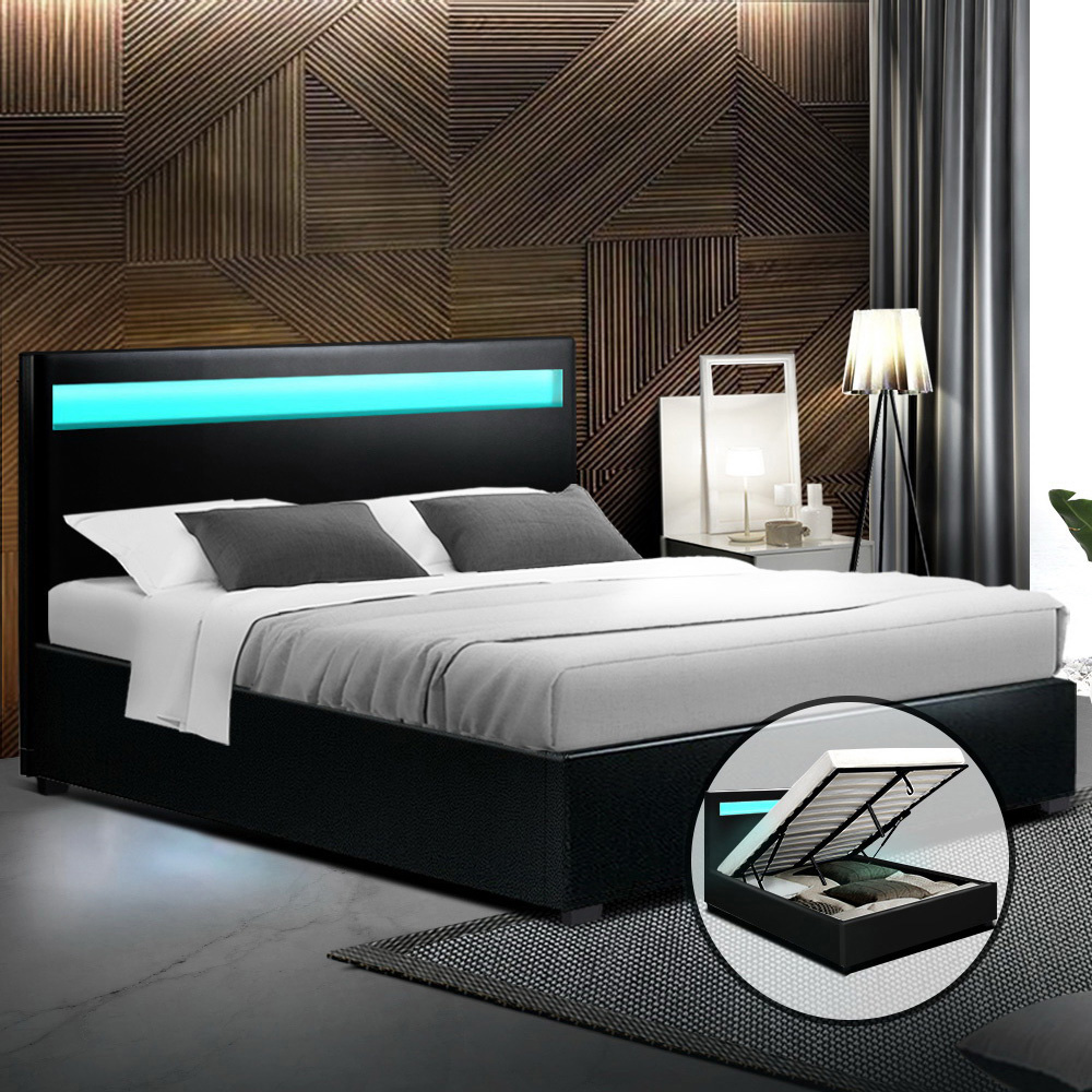 Artiss LED Bed Frame Queen Size Gas Lift Base With Storage Black Leather 7