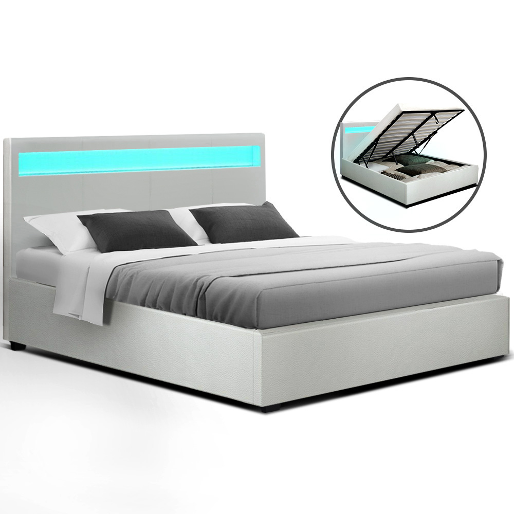 Artiss LED Bed Frame Queen Size Gas Lift Base With Storage White Leather 1