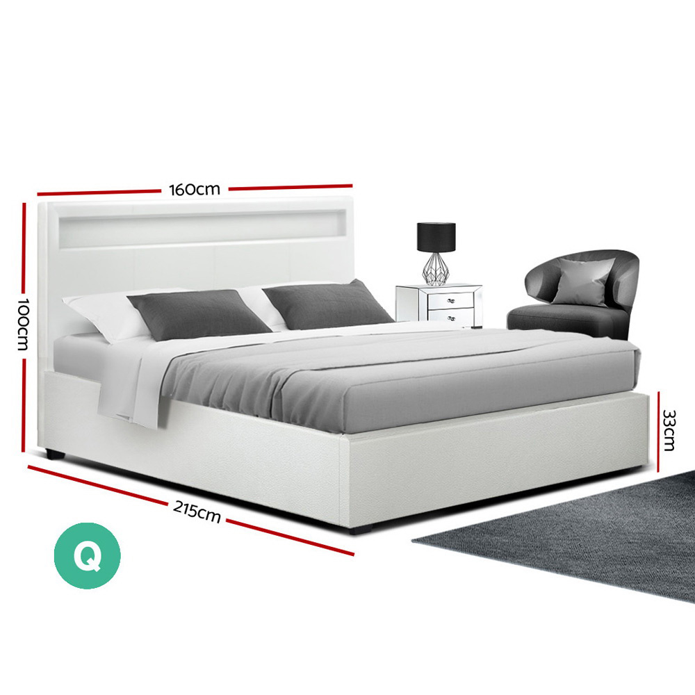 Artiss LED Bed Frame Queen Size Gas Lift Base With Storage White Leather 2