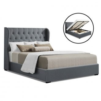 Artiss King Size Gas Lift Bed Frame Base With Storage Mattress Grey Fabric Wooden 1