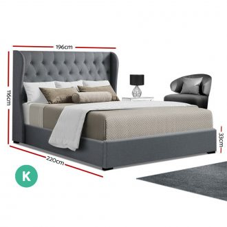 Artiss King Size Gas Lift Bed Frame Base With Storage Mattress Grey Fabric Wooden 2